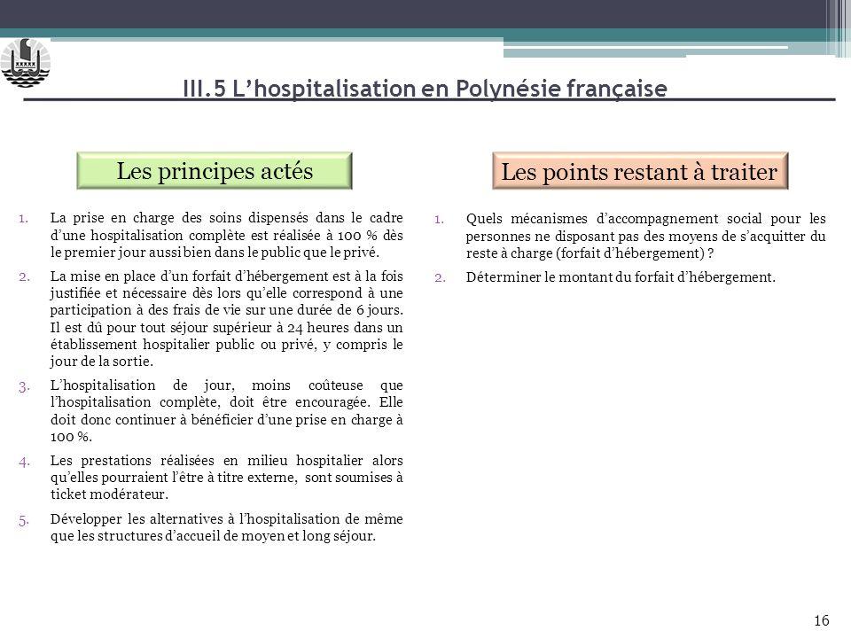 III.5 Lhospitalisation en Polynésie française Les principes actés Les points restant à traiter 1.La prise en charge des soins dispensés dans le cadre
