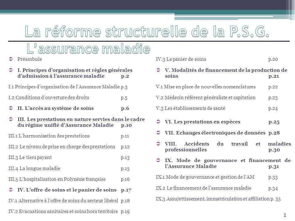 V.1 Mise en place de nouvelles nomenclatures Les principes actés Les points restant à traiter 1.Codage des actes médicaux : la Classification Commune des Actes Médicaux (CCAM) telle quelle existe en France métropolitaine doit être adoptée pour les médecins.