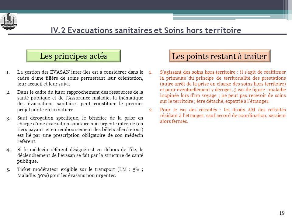 IV.2 Evacuations sanitaires et Soins hors territoire Les principes actés Les points restant à traiter 1.La gestion des EVASAN inter-îles est à considé