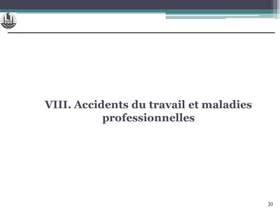 VIII. Accidents du travail et maladies professionnelles 30