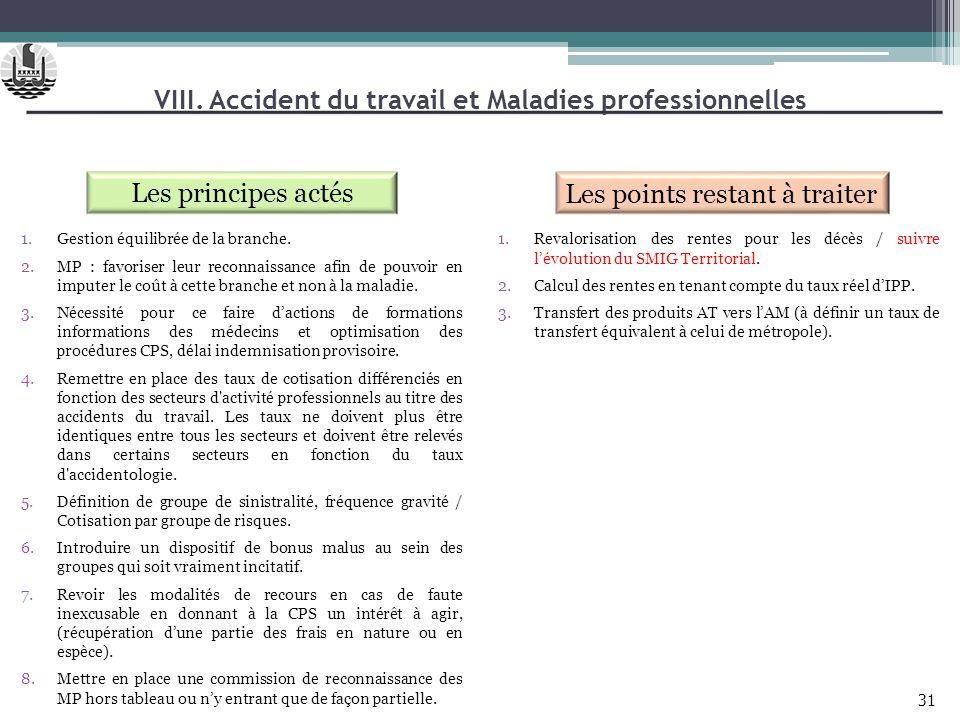 VIII. Accident du travail et Maladies professionnelles Les principes actés Les points restant à traiter 1.Revalorisation des rentes pour les décès / s