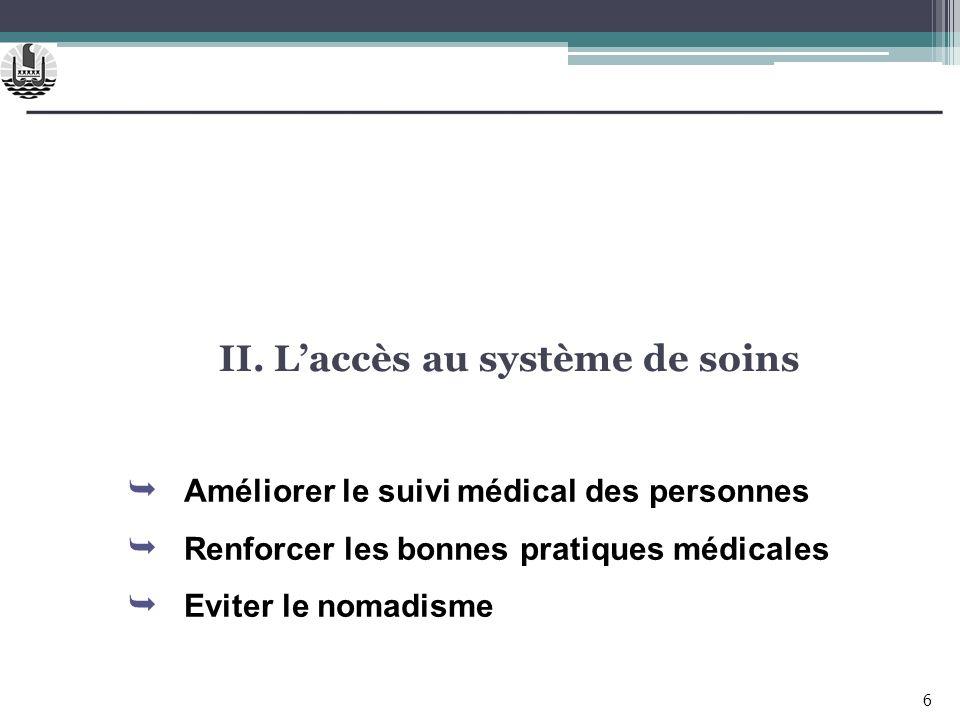 II. Laccès au système de soins 6 Améliorer le suivi médical des personnes Renforcer les bonnes pratiques médicales Eviter le nomadisme