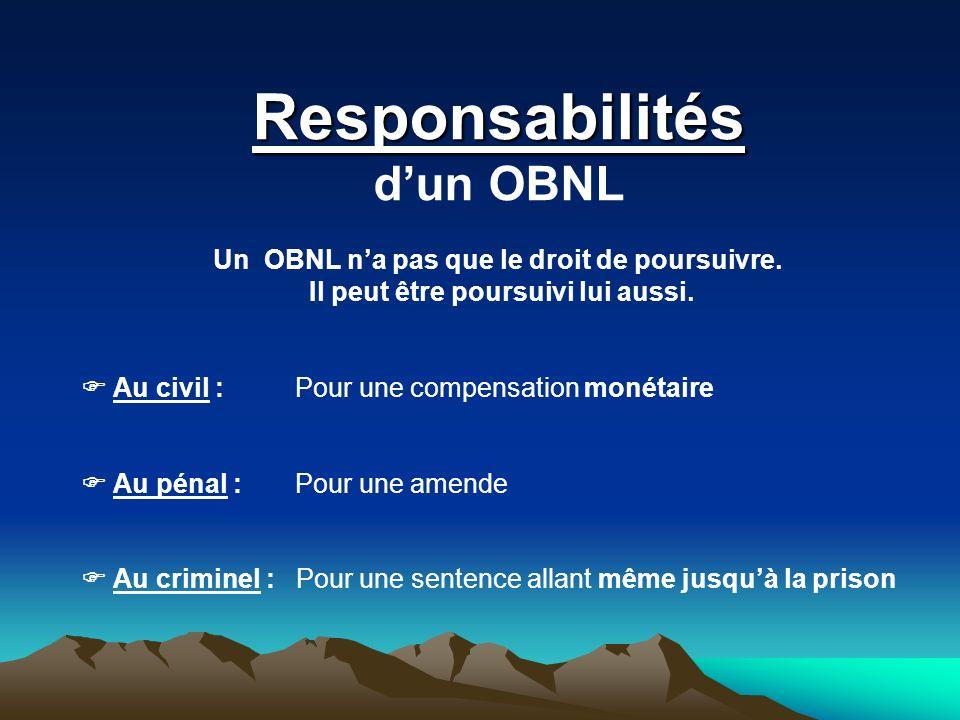 Responsabilités dun OBNL Un OBNL na pas que le droit de poursuivre. Il peut être poursuivi lui aussi. Au civil : Pour une compensation monétaire Au pé
