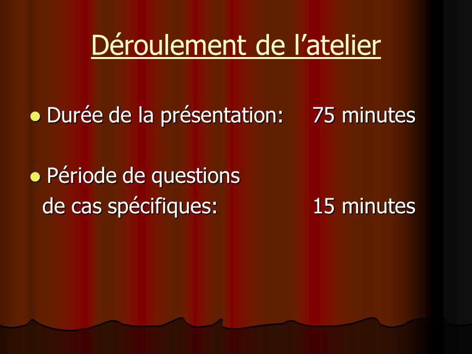 Durée de la présentation:75 minutes Durée de la présentation:75 minutes Période de questions Période de questions de cas spécifiques:15 minutes de cas