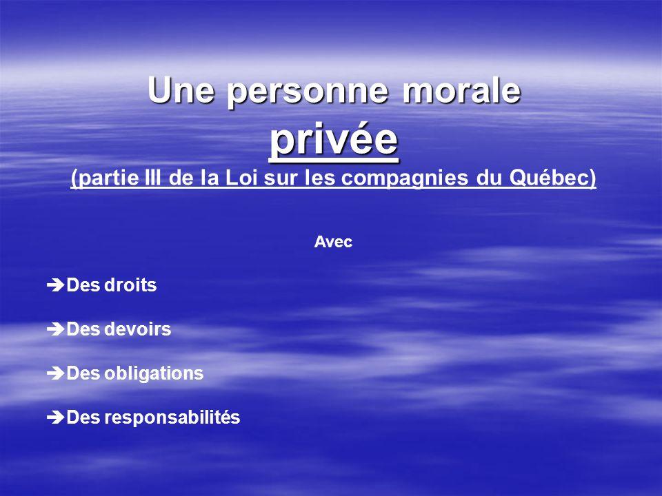 Une personne morale privée (partie III de la Loi sur les compagnies du Québec) Avec Des droits Des devoirs Des obligations Des responsabilités