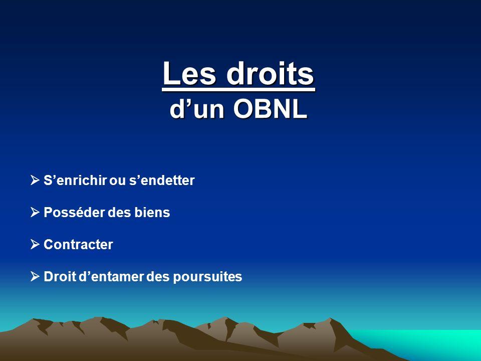 Les droits dun OBNL Senrichir ou sendetter Posséder des biens Contracter Droit dentamer des poursuites