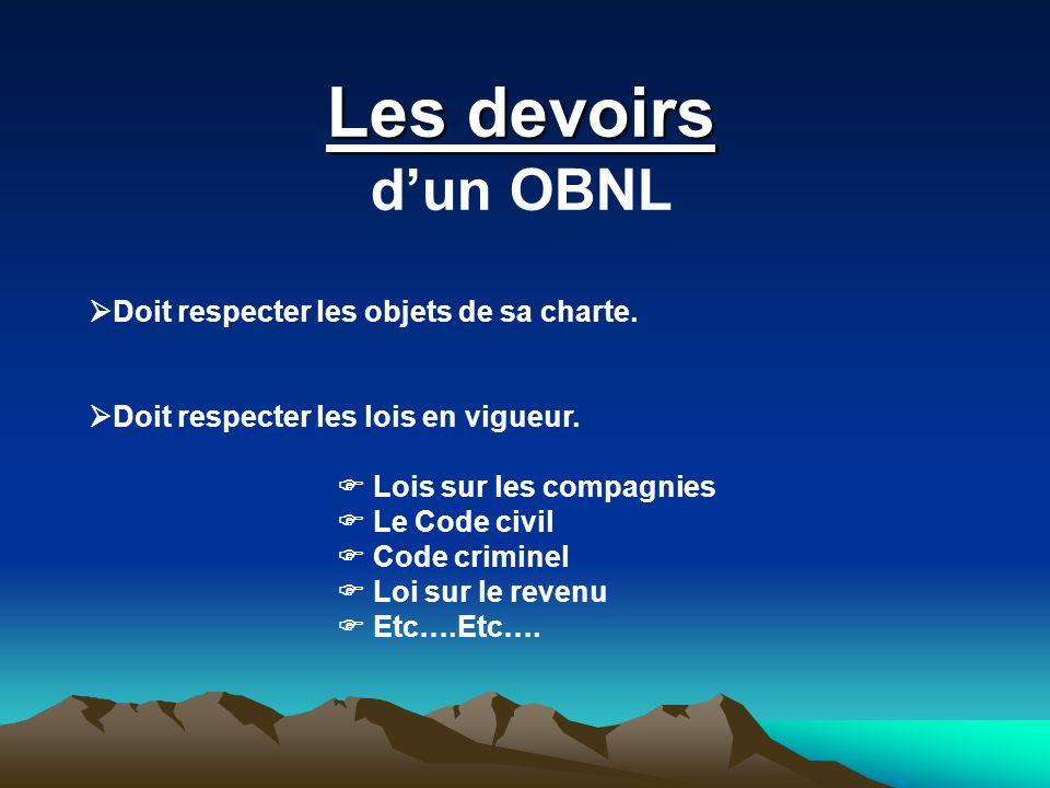 Les devoirs dun OBNL Doit respecter les objets de sa charte. Doit respecter les lois en vigueur. Lois sur les compagnies Le Code civil Code criminel L