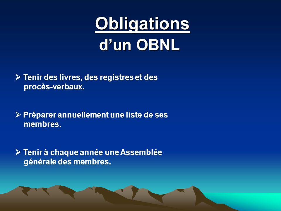 Obligations Obligations dun OBNL Tenir des livres, des registres et des procès-verbaux. Préparer annuellement une liste de ses membres. Tenir à chaque