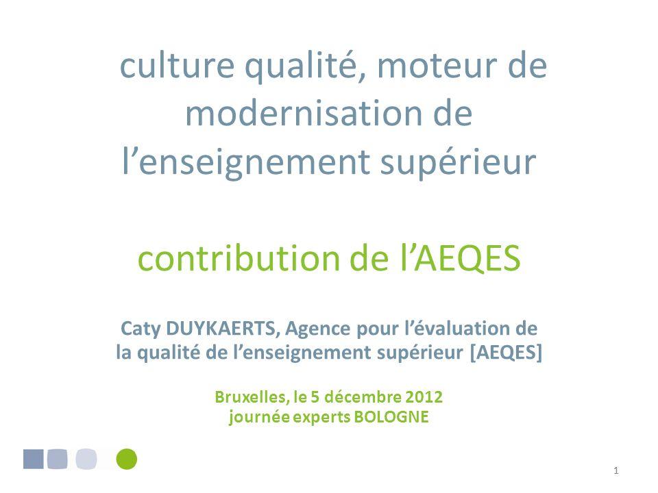 11 culture qualité, moteur de modernisation de lenseignement supérieur contribution de lAEQES Caty DUYKAERTS, Agence pour lévaluation de la qualité de lenseignement supérieur [AEQES] Bruxelles, le 5 décembre 2012 journée experts BOLOGNE