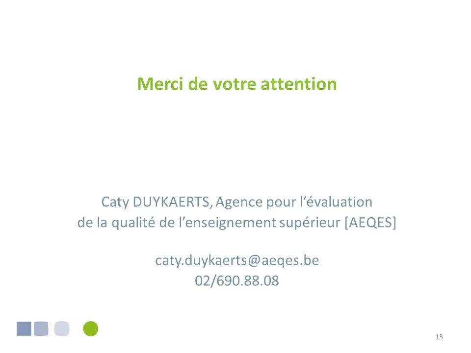 13 Merci de votre attention Caty DUYKAERTS, Agence pour lévaluation de la qualité de lenseignement supérieur [AEQES] caty.duykaerts@aeqes.be 02/690.88.08