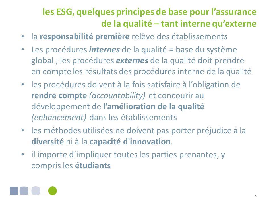 les ESG, quelques principes de base pour lassurance de la qualité – tant interne quexterne 5 la responsabilité première relève des établissements Les procédures internes de la qualité = base du système global ; les procédures externes de la qualité doit prendre en compte les résultats des procédures interne de la qualité les procédures doivent à la fois satisfaire à lobligation de rendre compte (accountability) et concourir au développement de lamélioration de la qualité (enhancement) dans les établissements les méthodes utilisées ne doivent pas porter préjudice à la diversité ni à la capacité d innovation.