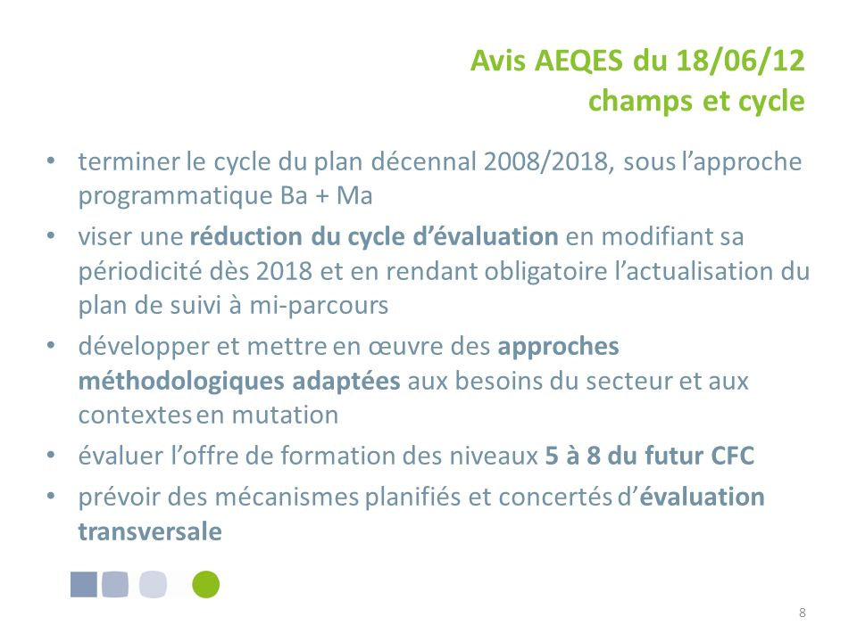 Avis AEQES du 18/06/12 champs et cycle terminer le cycle du plan décennal 2008/2018, sous lapproche programmatique Ba + Ma viser une réduction du cycl