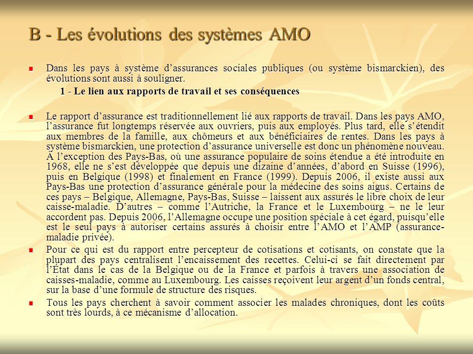 B - Les évolutions des systèmes AMO Dans les pays à système dassurances sociales publiques (ou système bismarckien), des évolutions sont aussi à souligner.