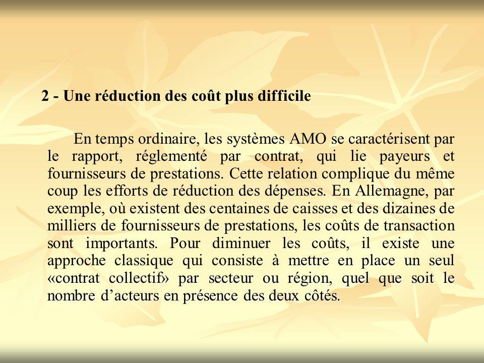 2 - Une réduction des coût plus difficile mettre en place un seul «contrat collectif» par secteur ou région, quel que soit le nombre dacteurs en présence des deux côtés.