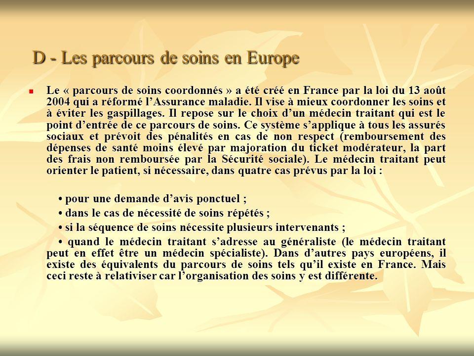 D - Les parcours de soins en Europe D - Les parcours de soins en Europe Le « parcours de soins coordonnés » a été créé en France par la loi du 13 août 2004 qui a réformé lAssurance maladie.