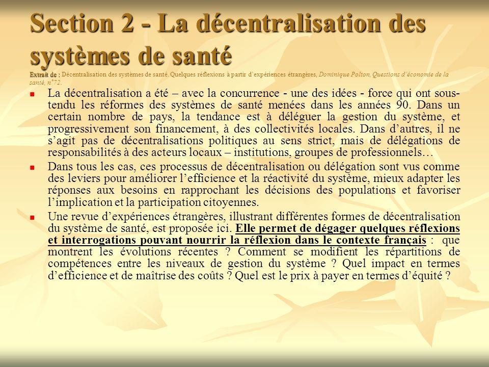Section 2 - La décentralisation des systèmes de santé Extrait de : Section 2 - La décentralisation des systèmes de santé Extrait de : Décentralisation des systèmes de santé.