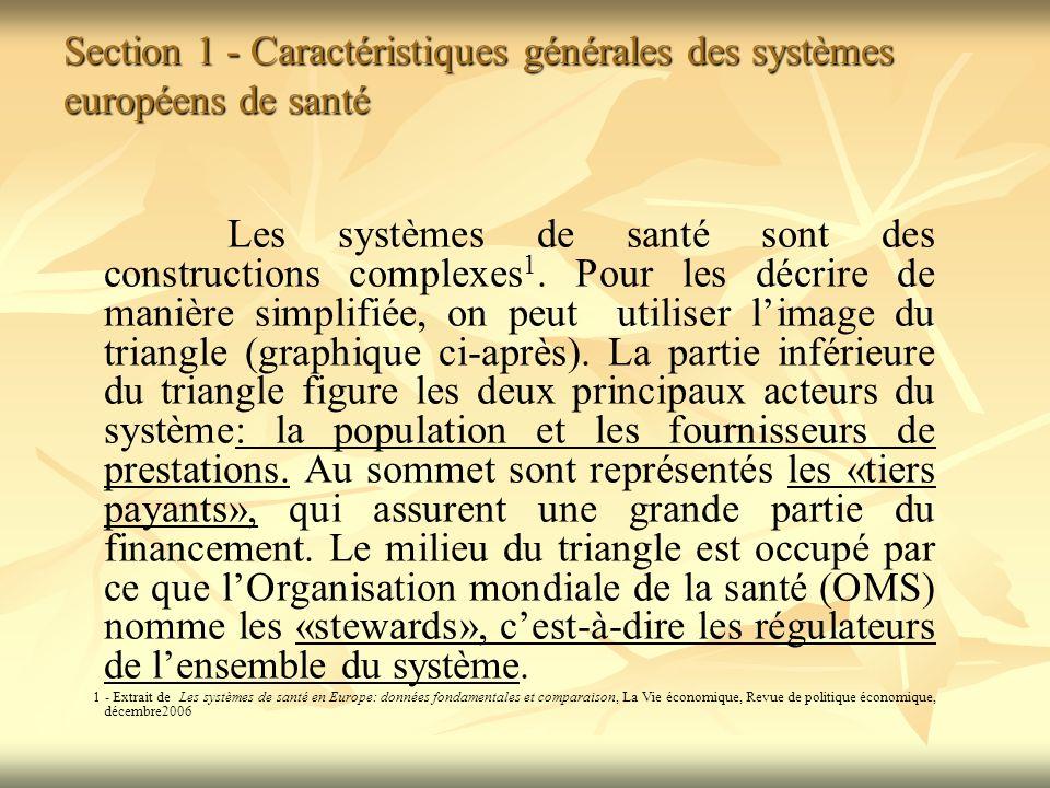 Section 1 - Caractéristiques générales des systèmes européens de santé Les systèmes de santé sont des constructions complexes 1.