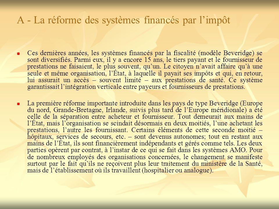 A - La réforme des systèmes financés par limpôt Ces dernières années, les systèmes financés par la fiscalité (modèle Beveridge) se sont diversifiés.