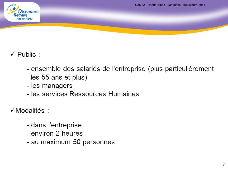 Public : - ensemble des salariés de l'entreprise (plus particulièrement les 55 ans et plus) - les managers - les services Ressources Humaines Modalité