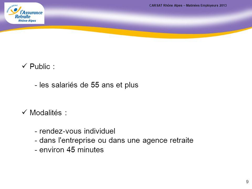 Public : - les salariés de 55 ans et plus Modalités : - rendez-vous individuel - dans l'entreprise ou dans une agence retraite - environ 45 minutes CA
