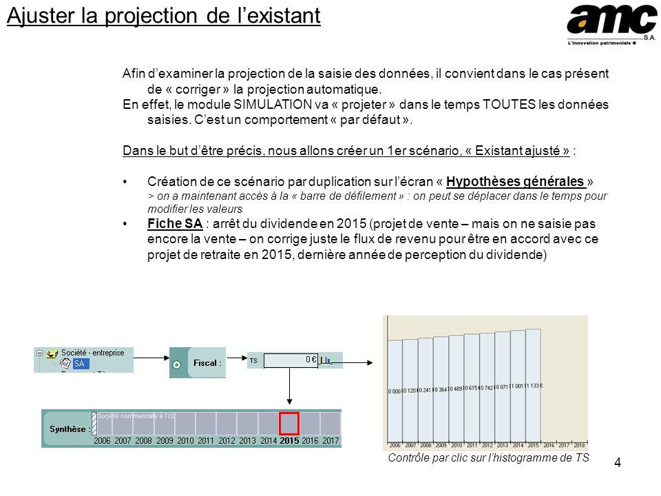 4 Ajuster la projection de lexistant Afin dexaminer la projection de la saisie des données, il convient dans le cas présent de « corriger » la project