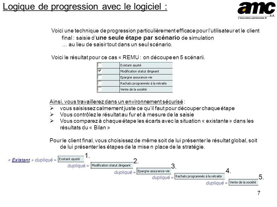 7 Logique de progression avec le logiciel : Voici une technique de progression particulièrement efficace pour lutilisateur et le client final : saisie