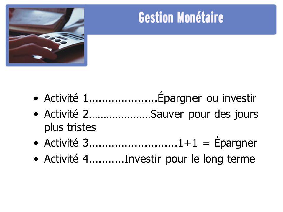 Activité 1.....................Épargner ou investir Activité 2…………………Sauver pour des jours plus tristes Activité 3...........................1+1 = Épargner Activité 4...........Investir pour le long terme