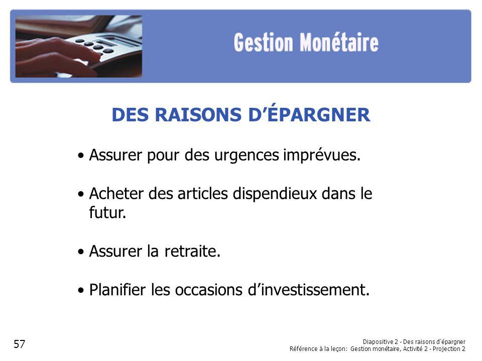 Diapositive 2 - Des raisons d épargner Référence à la leçon: Gestion monétaire, Activité 2 - Projection 2 DES RAISONS DÉPARGNER Assurer pour des urgences imprévues.