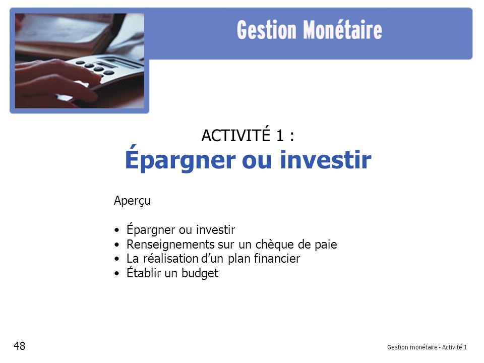 Diapositive 1 – Pointage épargner ou investir Référence à la leçon : Gestion monétaire, Activité 1 - Projection 1 Épargnez-vous.