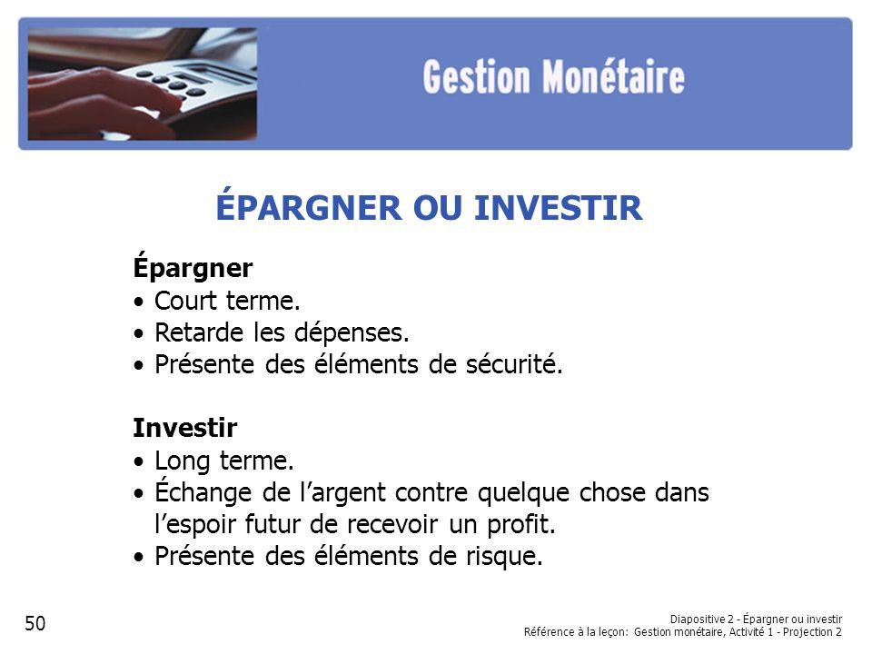 Diapositive 2 - Épargner ou investir Référence à la leçon: Gestion monétaire, Activité 1 - Projection 2 ÉPARGNER OU INVESTIR Épargner Court terme.