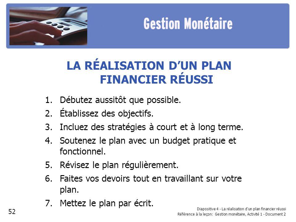 Diapositive 4 - La réalisation d un plan financier réussi Référence à la leçon: Gestion monétaire, Activité 1 - Document 2 LA RÉALISATION DUN PLAN FINANCIER RÉUSSI 1.Débutez aussitôt que possible.
