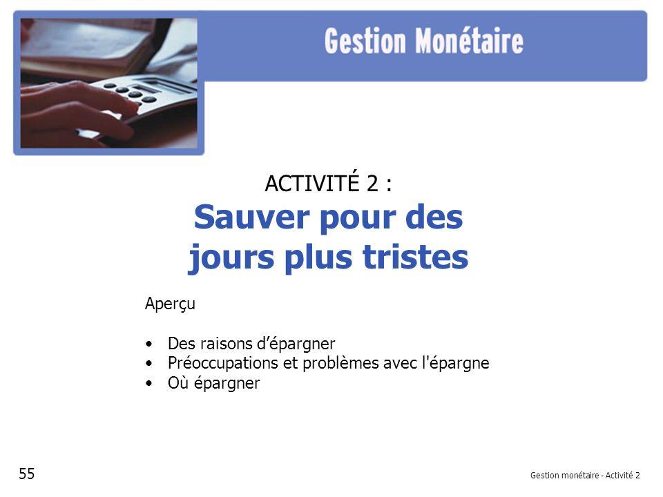 Diapositive 1 - Sauver pour des jours plus tristes Référence à la leçon: Gestion monétaire, Activité 2 - Projection 1 SAUVER POUR DES JOURS PLUS TRISTES 56
