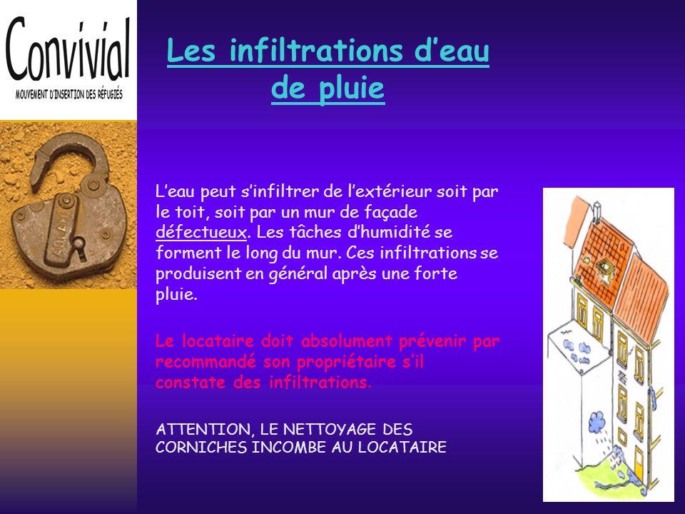 Les installations deau Les canalisations deau peuvent se rompre (usure, malfaçon, gel,..) Toute conduite deau doit être réparée.