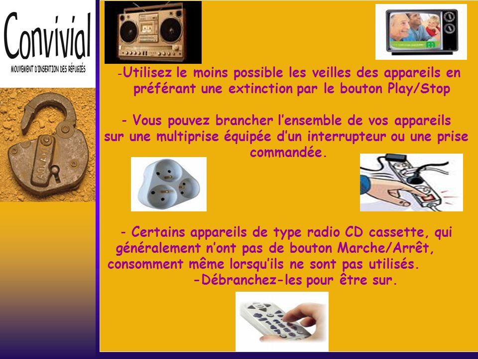 Télévision&appareils hifi Ces appareils sont de faibles puissance mais ont des consommations quil ne faut pas négliger.