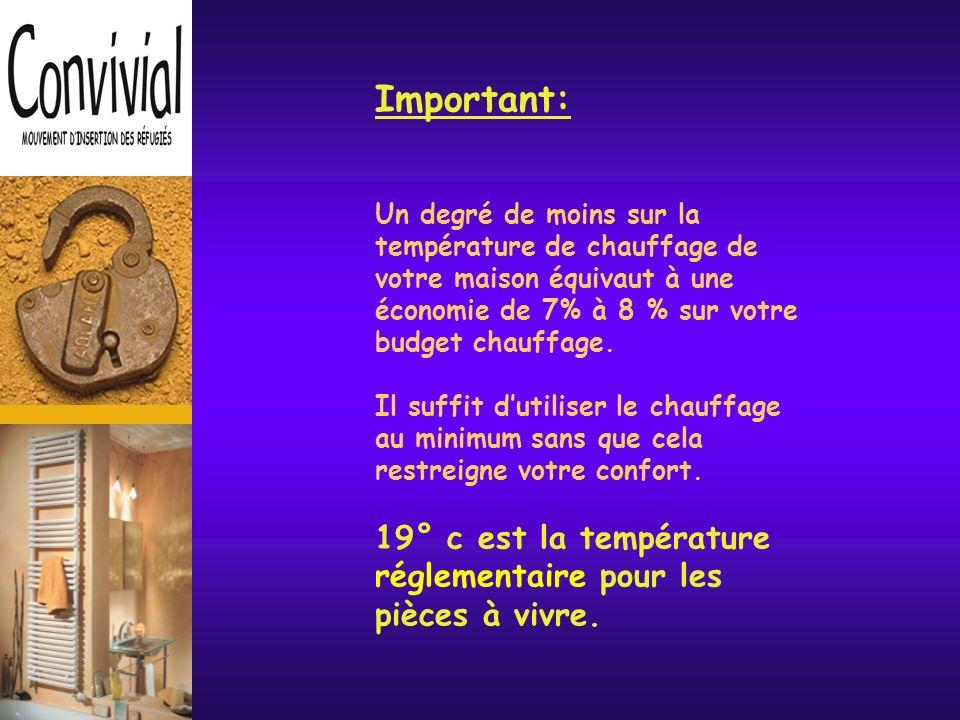 Le chauffage & la ventilation Le chauffage représente entre 40 à 60% de votre facture énergétique.