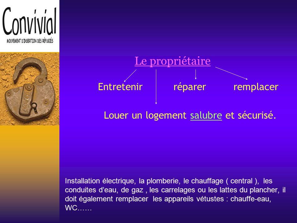 Le propriétaire Entretenir réparer remplacer Louer un logement salubre et sécurisé.