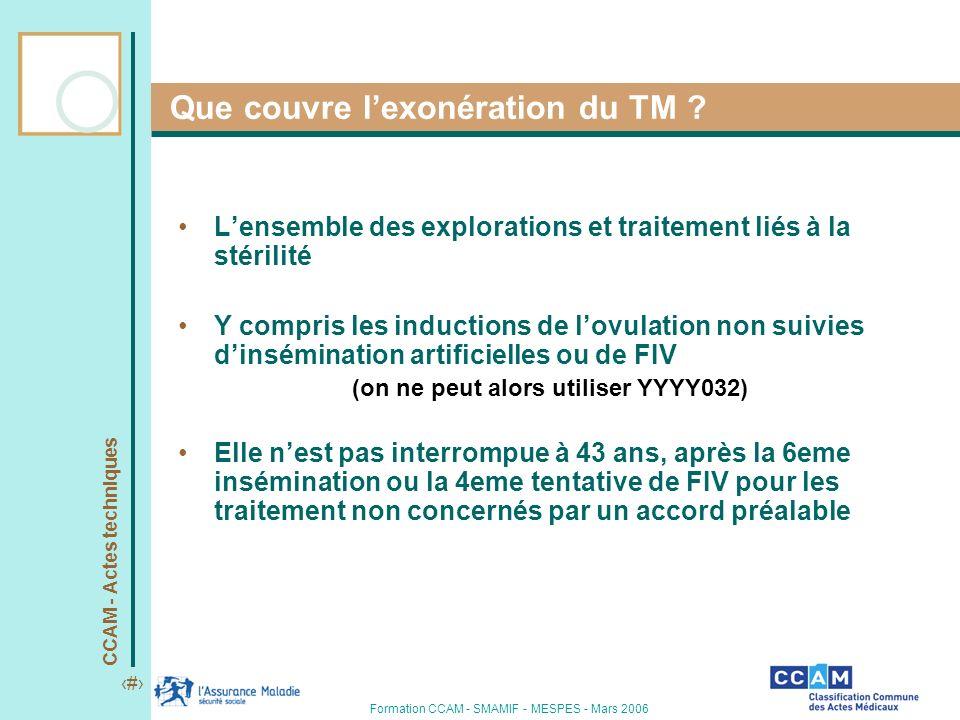 CCAM - Actes techniques 3 Formation CCAM - SMAMIF - MESPES - Mars 2006 Que couvre lexonération du TM ? Lensemble des explorations et traitement liés à