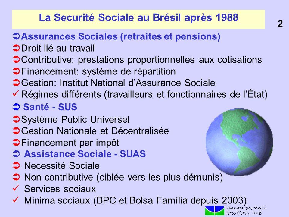 La Securité Sociale au Brésil après 1988 Assurances Sociales (retraites et pensions) Droit lié au travail Contributive: prestations proportionnelles a