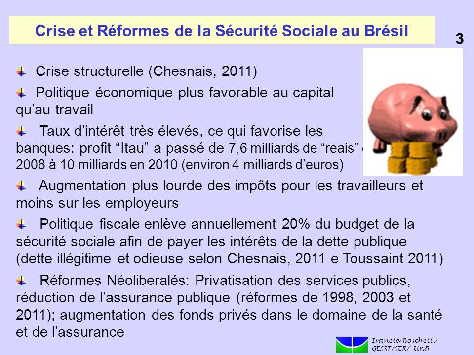 Crise et Réformes de la Sécurité Sociale au Brésil Crise structurelle (Chesnais, 2011) Politique économique plus favorable au capital quau travail Tau