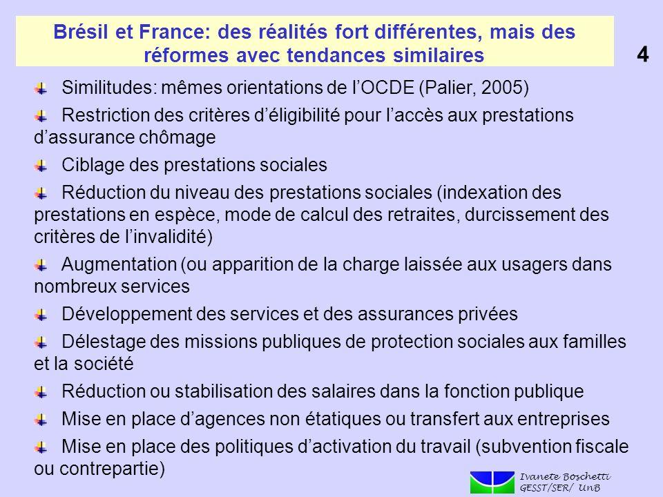 Brésil et France: des réalités fort différentes, mais des réformes avec tendances similaires Similitudes: mêmes orientations de lOCDE (Palier, 2005) R