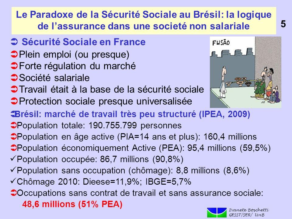 Le Paradoxe de la Sécurité Sociale au Brésil: la logique de lassurance dans une societé non salariale Sécurité Sociale en France Plein emploi (ou pres