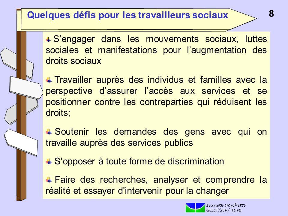 8 Quelques défis pour les travailleurs sociaux Sengager dans les mouvements sociaux, luttes sociales et manifestations pour laugmentation des droits s