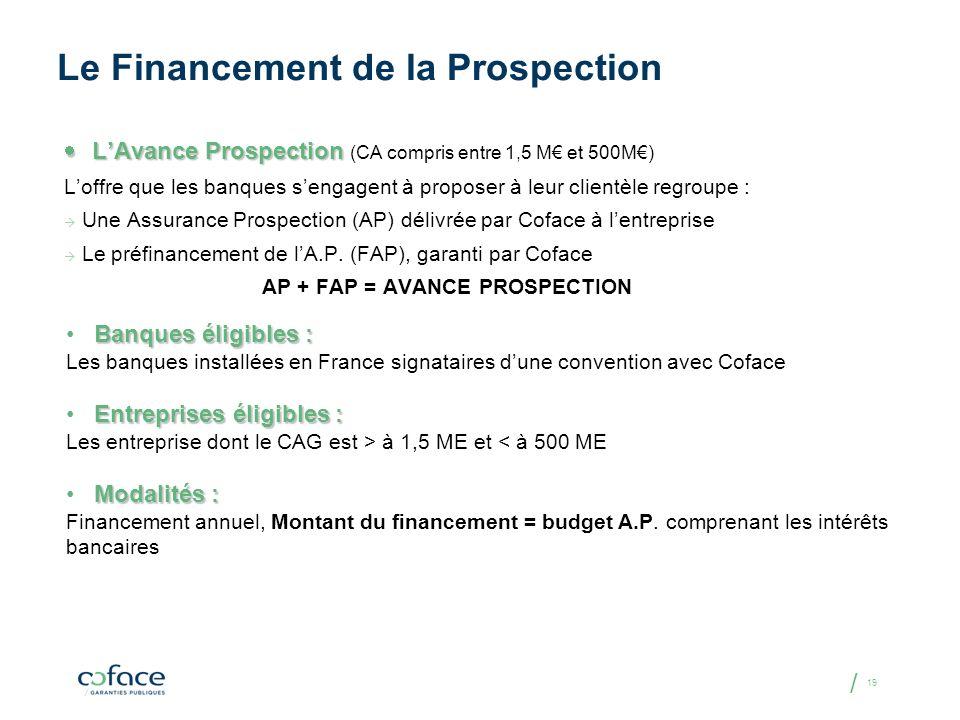 / 19 Le Financement de la Prospection LAvance Prospection LAvance Prospection (CA compris entre 1,5 M et 500M) Loffre que les banques sengagent à prop