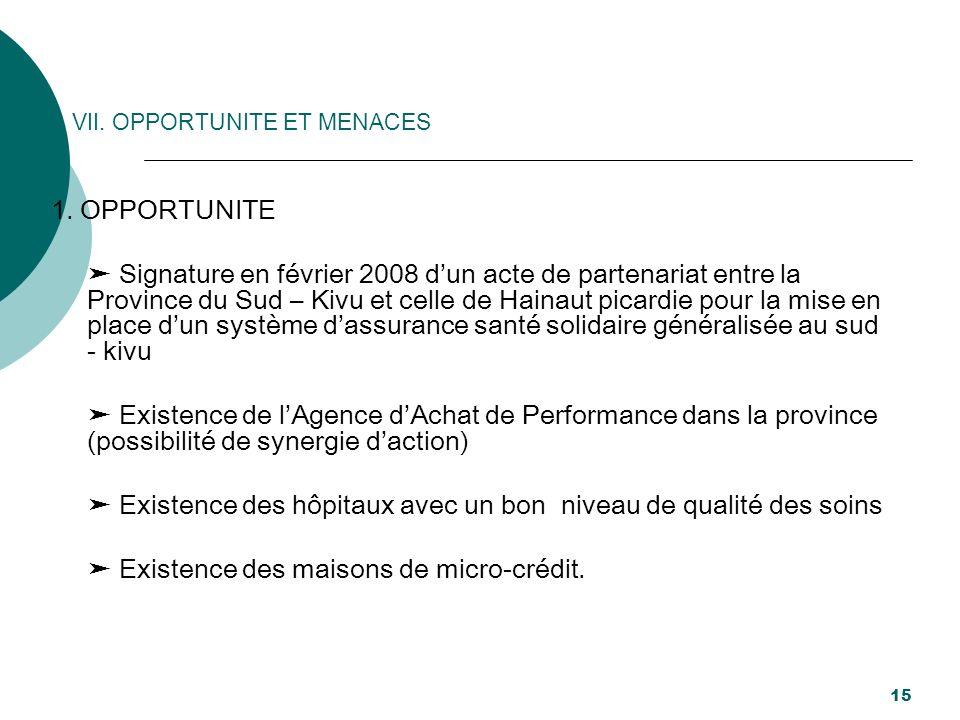 VII. OPPORTUNITE ET MENACES 1. OPPORTUNITE Signature en février 2008 dun acte de partenariat entre la Province du Sud – Kivu et celle de Hainaut picar