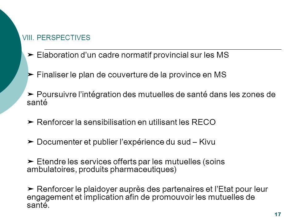 VIII. PERSPECTIVES Elaboration dun cadre normatif provincial sur les MS Finaliser le plan de couverture de la province en MS Poursuivre lintégration d