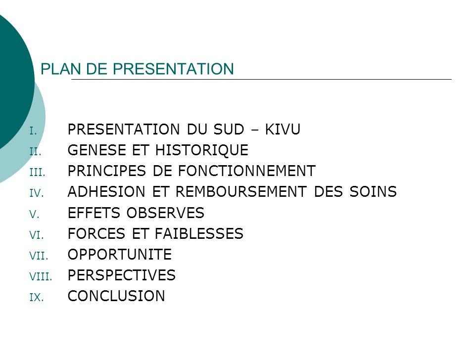 I. PRESENTATION DU SUD – KIVU II. GENESE ET HISTORIQUE III. PRINCIPES DE FONCTIONNEMENT IV. ADHESION ET REMBOURSEMENT DES SOINS V. EFFETS OBSERVES VI.