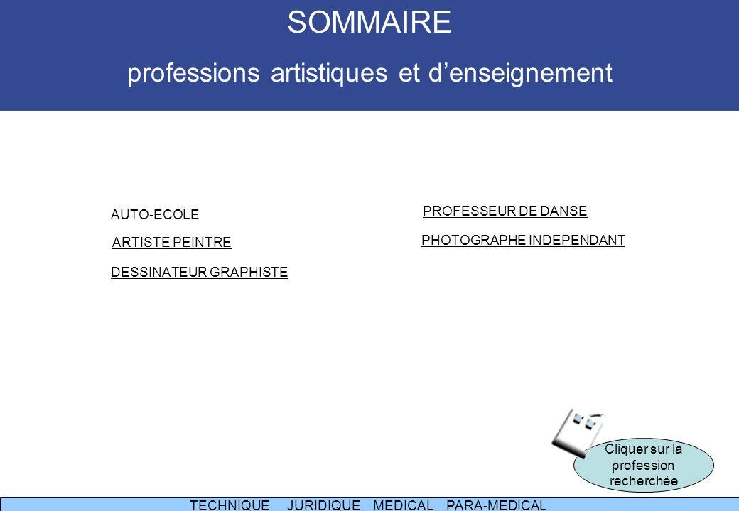 AUTO-ECOLE ARTISTE PEINTRE DESSINATEUR GRAPHISTE PROFESSEUR DE DANSE PHOTOGRAPHE INDEPENDANT Cliquer sur la profession recherchée TECHNIQUE TECHNIQUE JURIDIQUE MEDICAL PARA-MEDICAL JURIDIQUE MEDICALPARA-MEDICAL SOMMAIRE professions artistiques et denseignement