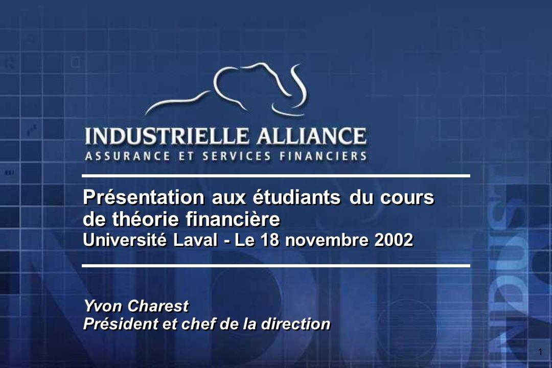 1 Présentation aux étudiants du cours de théorie financière Université Laval - Le 18 novembre 2002 Présentation aux étudiants du cours de théorie financière Université Laval - Le 18 novembre 2002 Yvon Charest Président et chef de la direction