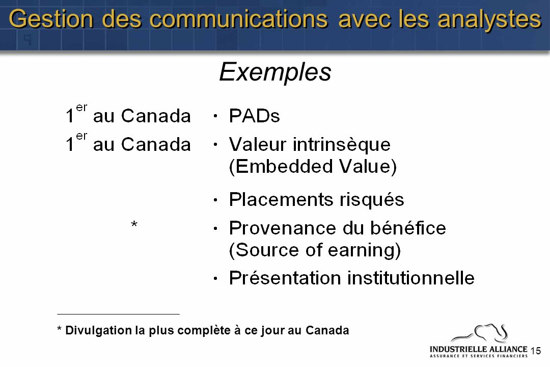 15 Gestion des communications avec les analystes Exemples * Divulgation la plus complète à ce jour au Canada