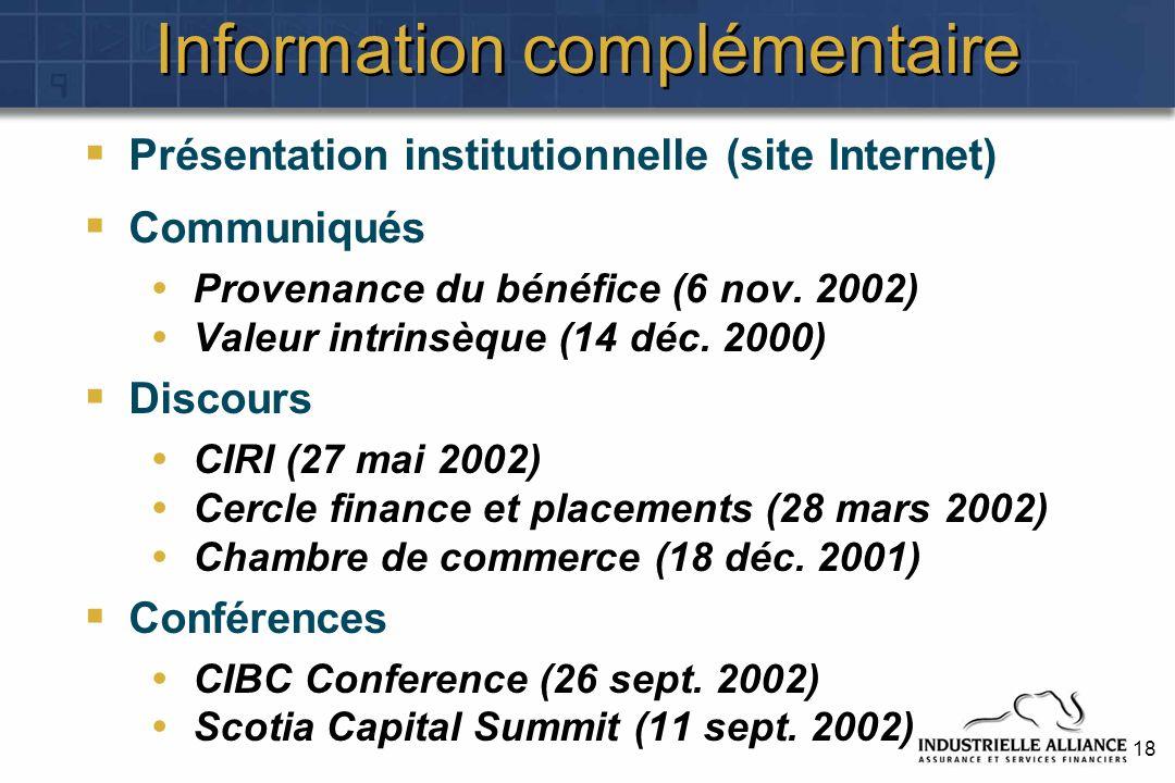 18 Information complémentaire Présentation institutionnelle (site Internet) Communiqués Provenance du bénéfice (6 nov. 2002) Valeur intrinsèque (14 dé